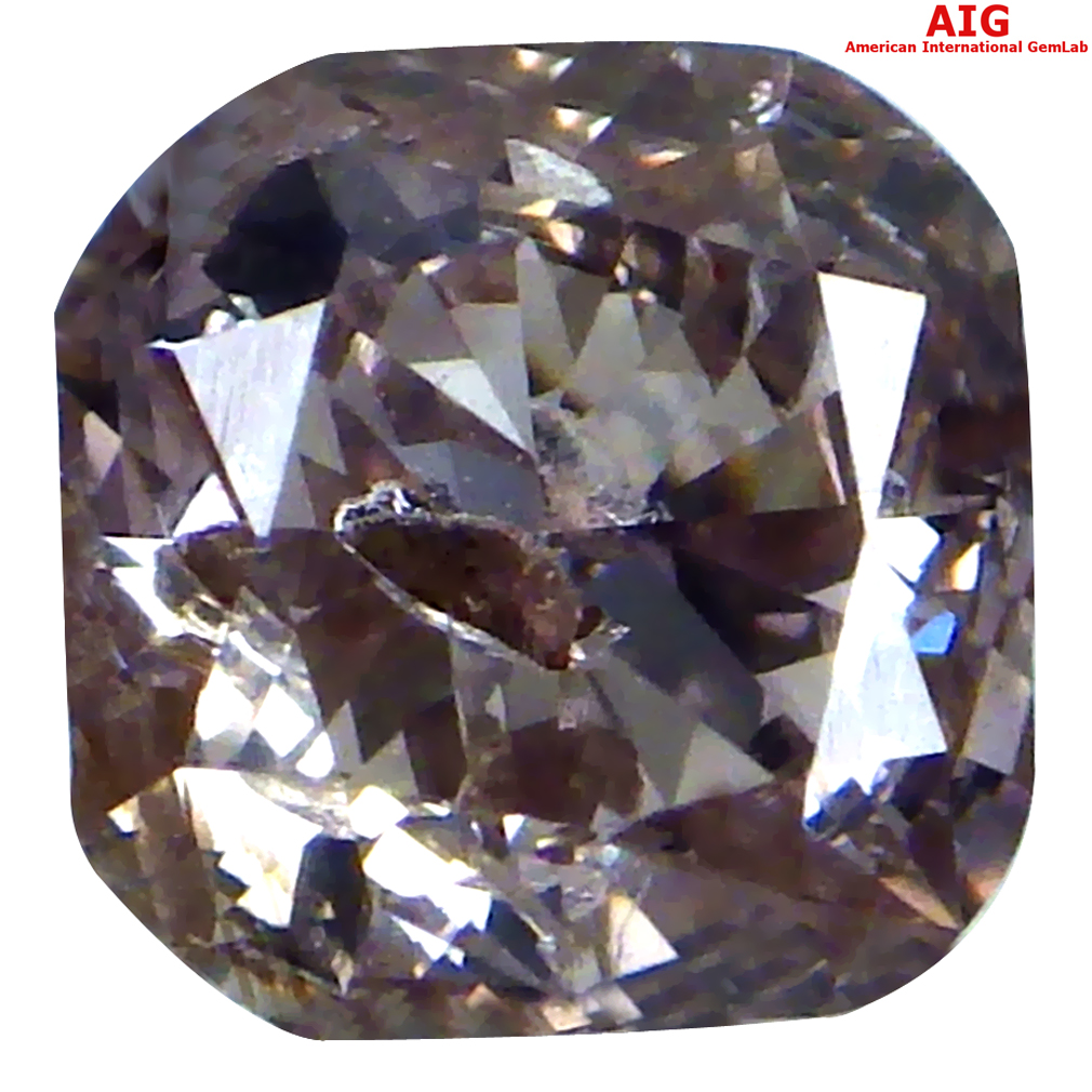 0.31 ct AIG CERTIFIED WORLD CLASS SI2 CLARITY OCTAGON CUT (4 X 4 MM) FANCY PURPLISH PINK DIAMOND STONE