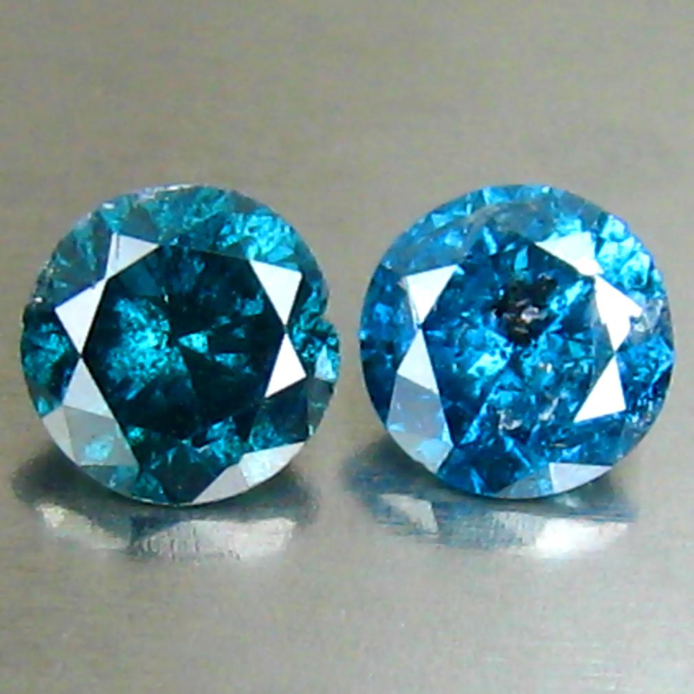 0.39 ct (2PCS) MATCHING PAIR EXTRAORDINARY 4 MM ROUND CUT VIVID BLUE DIAMOND GENUINE STONE