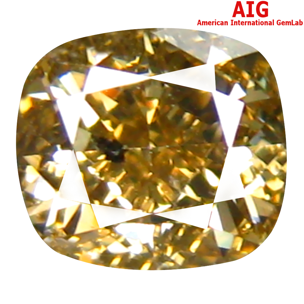 1.01 ct AIG CERTIFIED BEAUTIFUL SI2 CLARITY CUSHION CUT (6 X 5 MM) FANCY YELLOWISH GREEN DIAMOND STONE