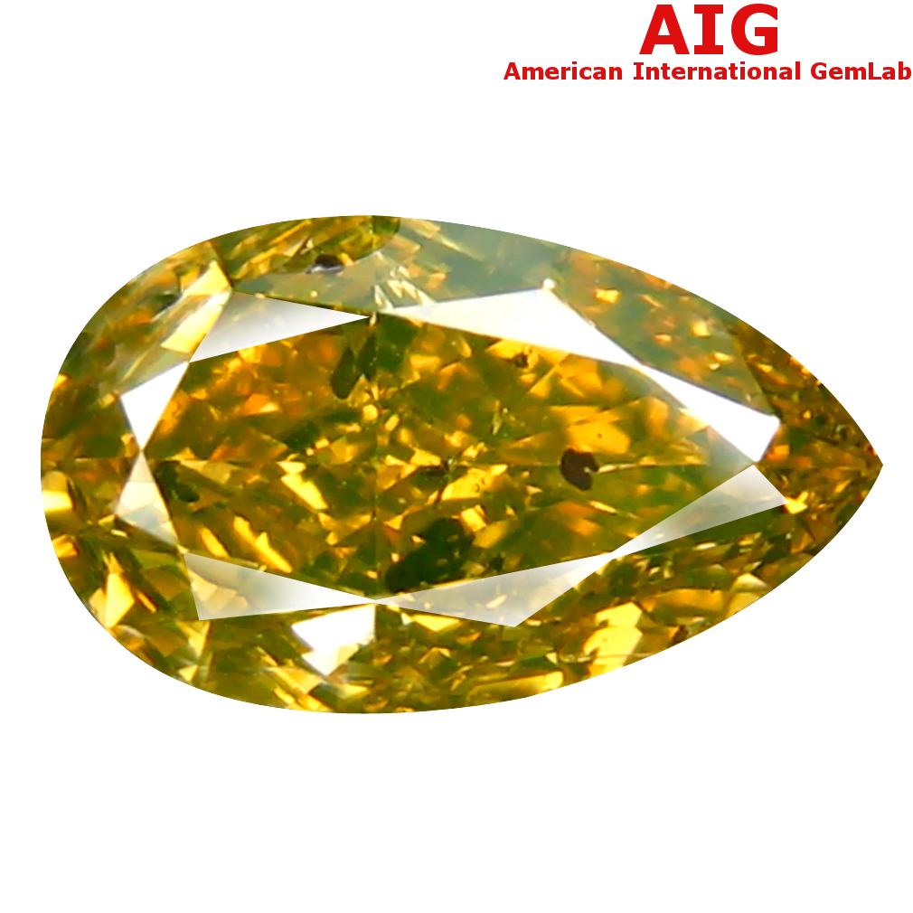 1.27 ct AIG CERTIFIED TOPNOTCH PEAR CUT (9 X 5 MM) UNHEATED / UNTREATED FANCY GREENISH YELLOW DIAMOND LOOSE STONE