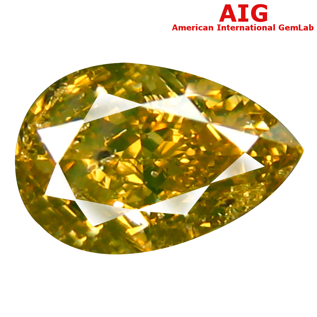 1.00 ct AIG CERTIFIED MAGNIFICENT SI2 CLARITY PEAR CUT (8 X 5 MM) FANCY GREENISH YELLOW DIAMOND STONE