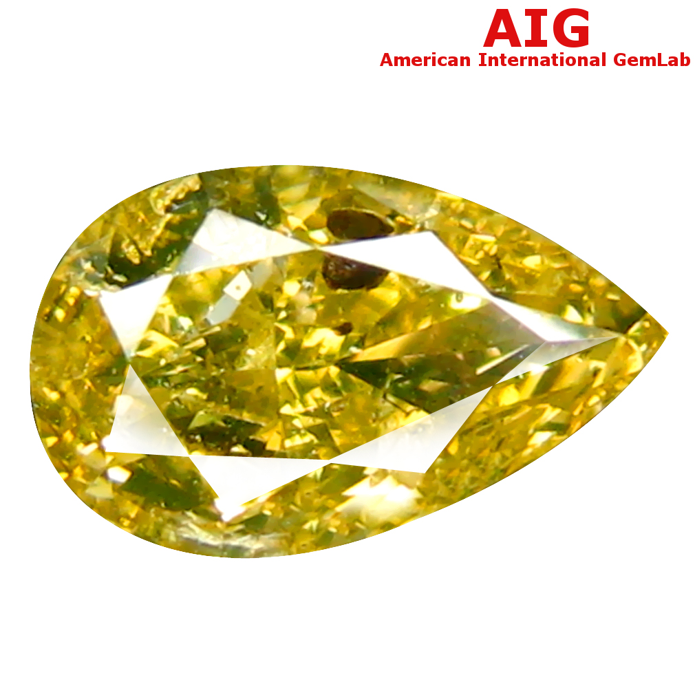 1.00 ct AIG CERTIFIED EXCELLENT PEAR CUT (8 X 5 MM) UNHEATED / UNTREATED FANCY GREENISH YELLOW DIAMOND LOOSE STONE