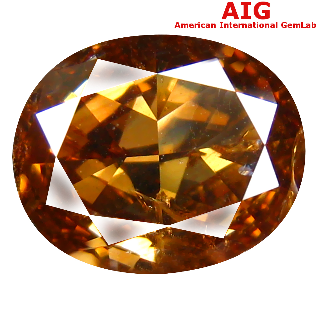 1.82 ct AIG CERTIFIED WONDERFUL OVAL CUT (9 X 7 MM) UNHEATED / UNTREATED FANCY ORANGE YELLOW DIAMOND LOOSE STONE