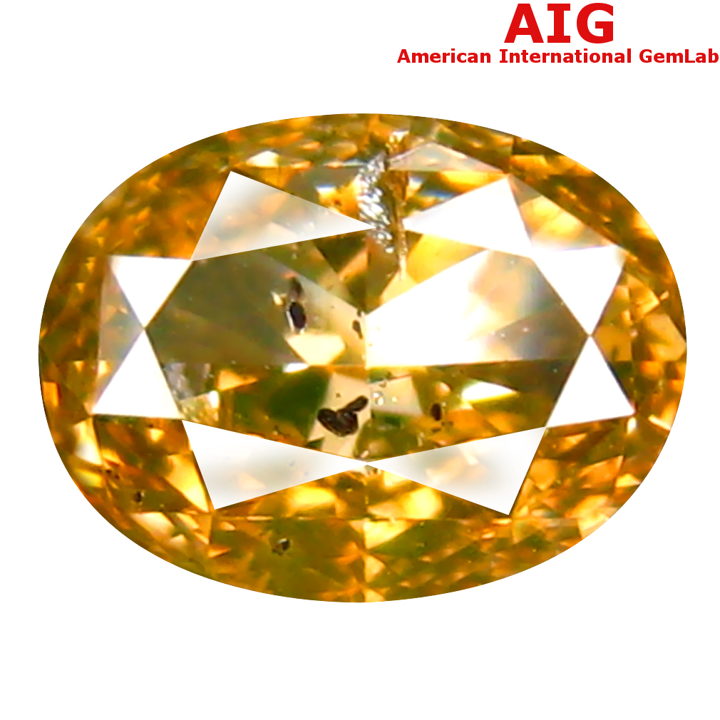 1.00 ct AIG CERTIFIED TERRIFIC OVAL CUT (7 X 5 MM) UNHEATED / UNTREATED FANCY GREENISH YELLOW DIAMOND LOOSE STONE