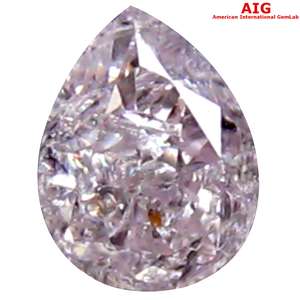 0.14 ct AIG CERTIFIED OUTSTANDING I1 CLARITY PEAR CUT (4 X 3 MM) FANCY LIGHT PINK DIAMOND STONE