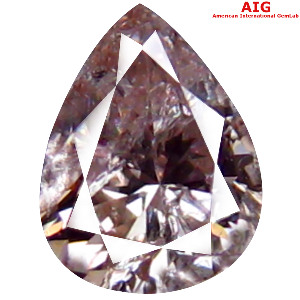 0.12 ct AIG CERTIFIED MAGNIFICENT I1 CLARITY PEAR CUT (4 X 3 MM) FANCY LIGHT PINK DIAMOND STONE