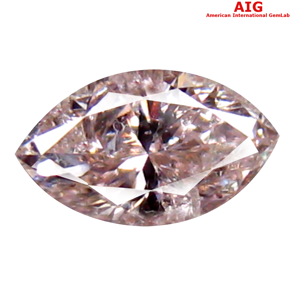 0.26 ct AIG CERTIFIED MIND-BOGGLING I1 CLARITY MARQUISE CUT (6 X 3 MM) FANCY LIGHT PINK DIAMOND STONE