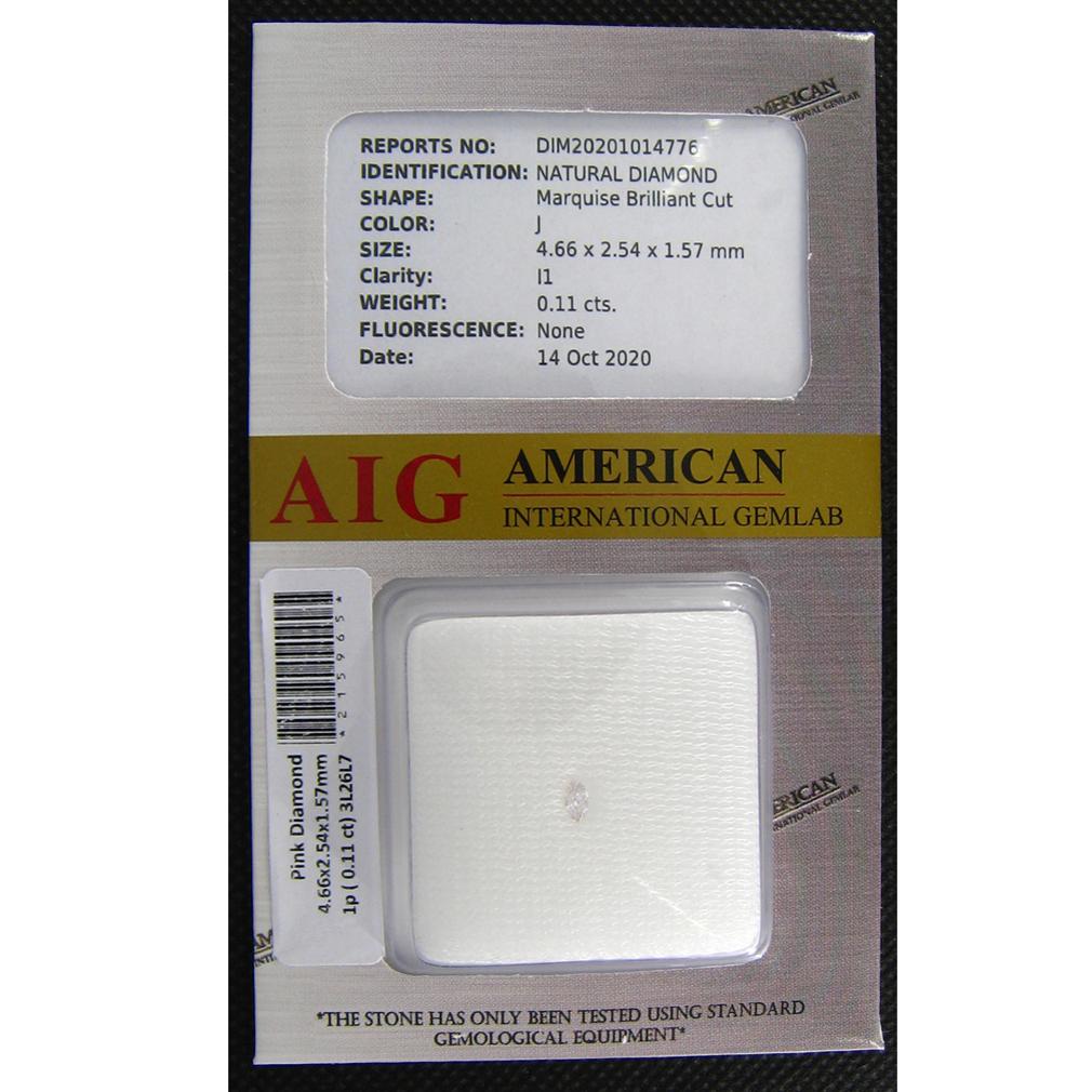 0.06 CT AIG certificata Marquise Taglio (3 x 2 mm) Fancy