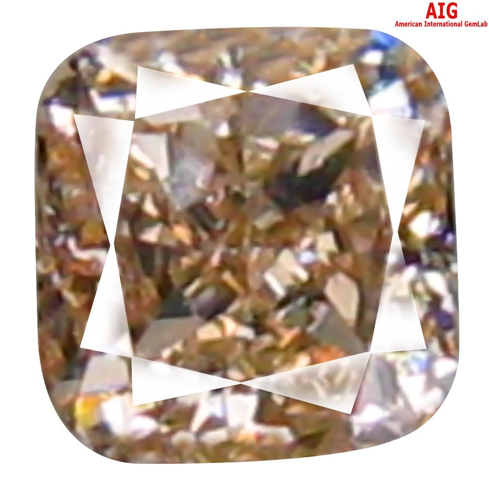 0.13 ct AIG CERTIFIED FIVE-STAR SI2 CLARITY CUSHION CUT (3 X 3 MM) FANCY BROWNISH YELLOW DIAMOND STONE