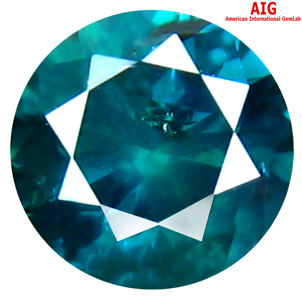 0.37 ct AIG CERTIFIED PHENOMENAL ROUND SHAPE (5 X 4 MM) GENUINE GREENISH BLUE DIAMOND LOOSE STONE