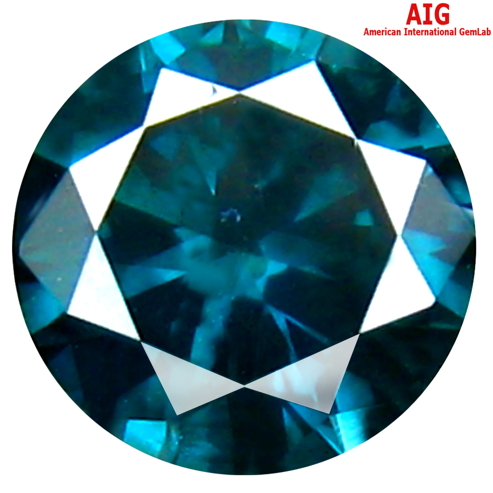 0.38 ct AIG CERTIFIED SIGNIFICANT ROUND SHAPE (5 X 5 MM) GENUINE VIVID BLUE DIAMOND LOOSE STONE