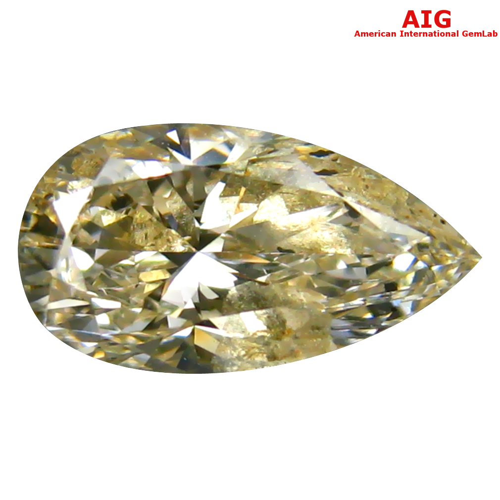 1.04 ct AIG CERTIFIED TERRIFIC PEAR CUT (9 X 5 MM) UNHEATED / UNTREATED FANCY YELLOW DIAMOND LOOSE STONE