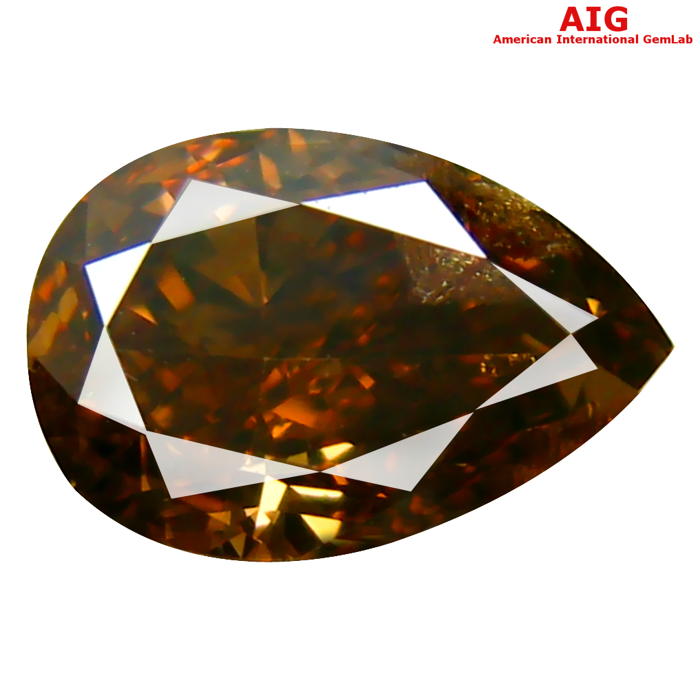 1.03 ct AIG CERTIFIED SPARKLING PEAR CUT (7 X 5 MM) UNHEATED / UNTREATED FANCY ORANGE BROWN DIAMOND LOOSE STONE