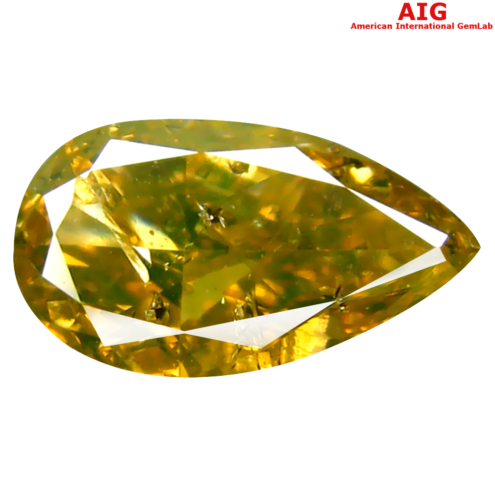 1.00 ct AIG CERTIFIED OUTSTANDING PEAR CUT (9 X 5 MM) UNHEATED / UNTREATED FANCY GREENISH YELLOW DIAMOND LOOSE STONE