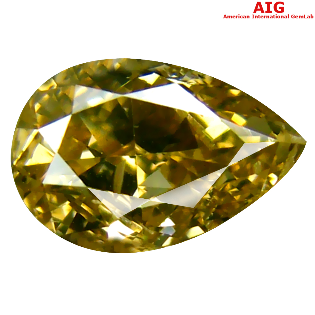 1.00 ct AIG CERTIFIED BEAUTIFUL PEAR CUT (8 X 5 MM) UNHEATED / UNTREATED FANCY GREENISH YELLOW DIAMOND LOOSE STONE