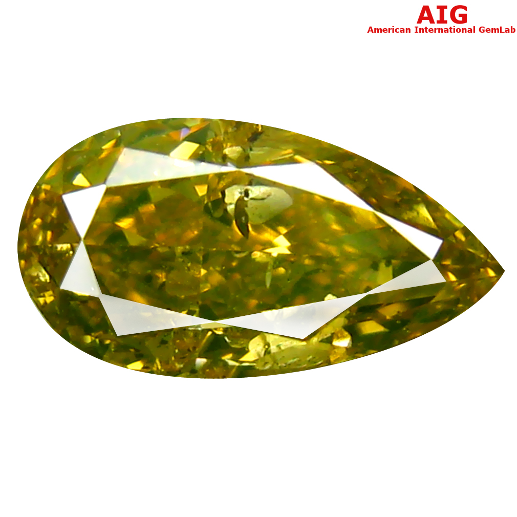 1.01 ct AIG CERTIFIED SPLENDID PEAR CUT (9 X 5 MM) UNHEATED / UNTREATED FANCY GREENISH YELLOW DIAMOND LOOSE STONE