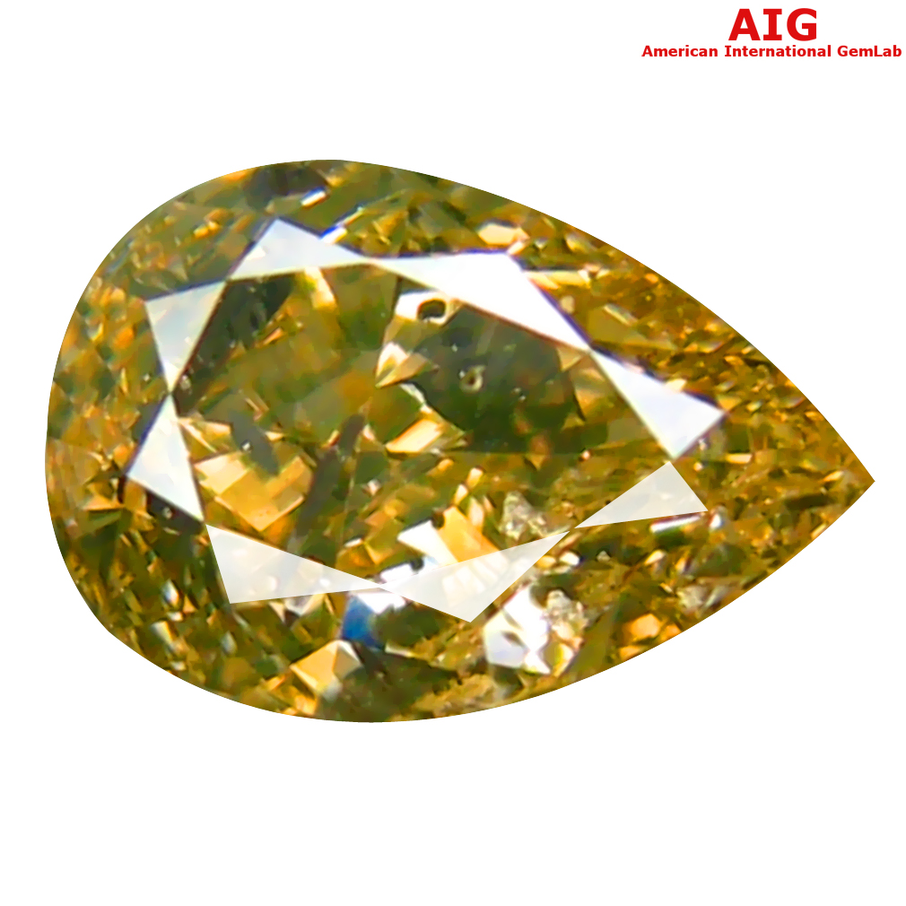 1.01 ct AIG CERTIFIED TREMENDOUS PEAR CUT (7 X 5 MM) UNHEATED / UNTREATED GREENISH YELLOW DIAMOND LOOSE STONE