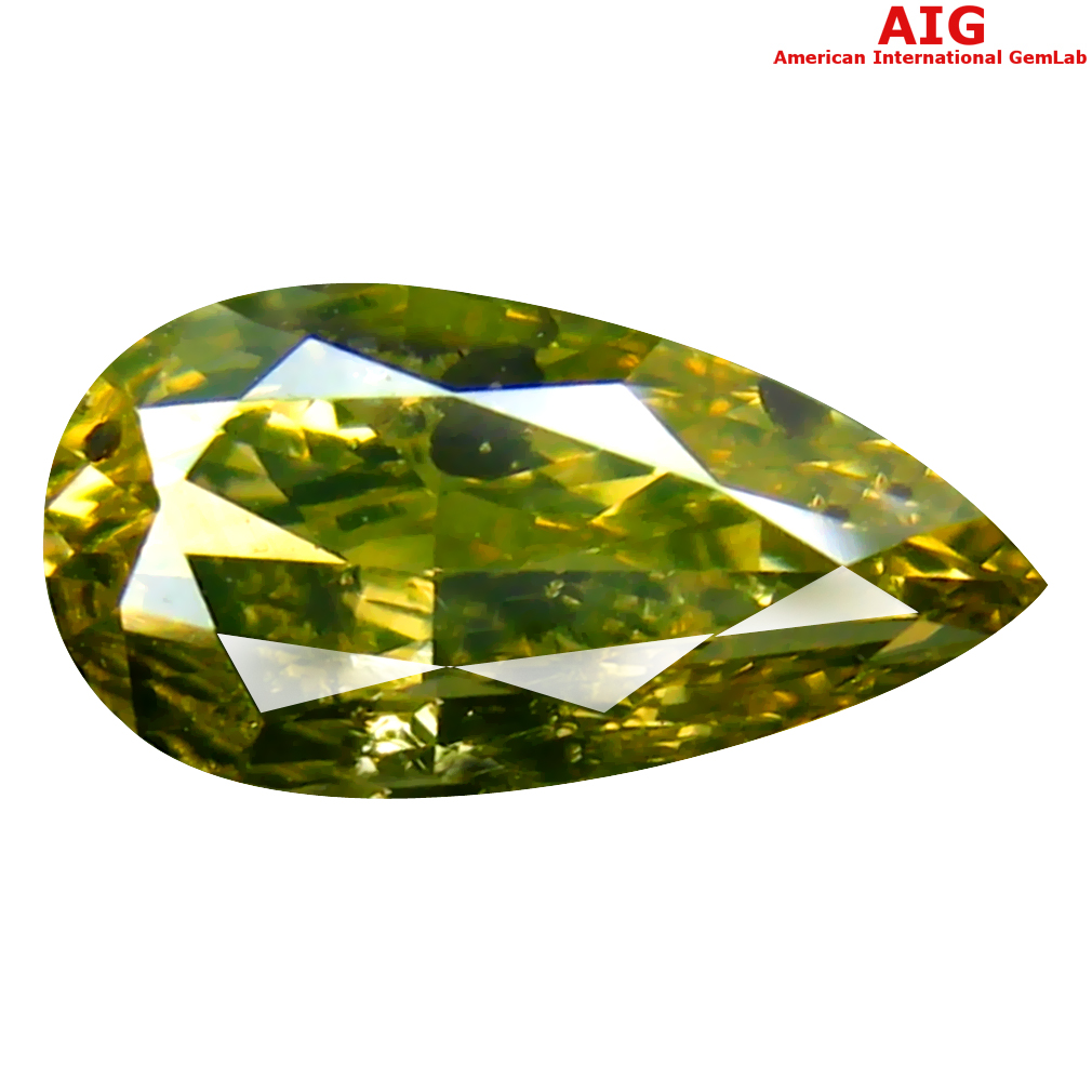 1.01 ct AIG CERTIFIED LOVELY PEAR CUT (9 X 5 MM) UNHEATED / UNTREATED GREENISH YELLOW DIAMOND LOOSE STONE