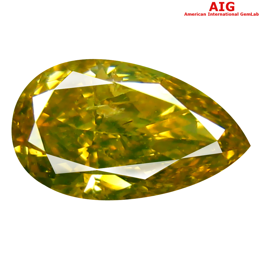 1.05 ct AIG CERTIFIED ROMANTIC PEAR CUT (8 X 5 MM) UNHEATED / UNTREATED GREENISH YELLOW DIAMOND LOOSE STONE