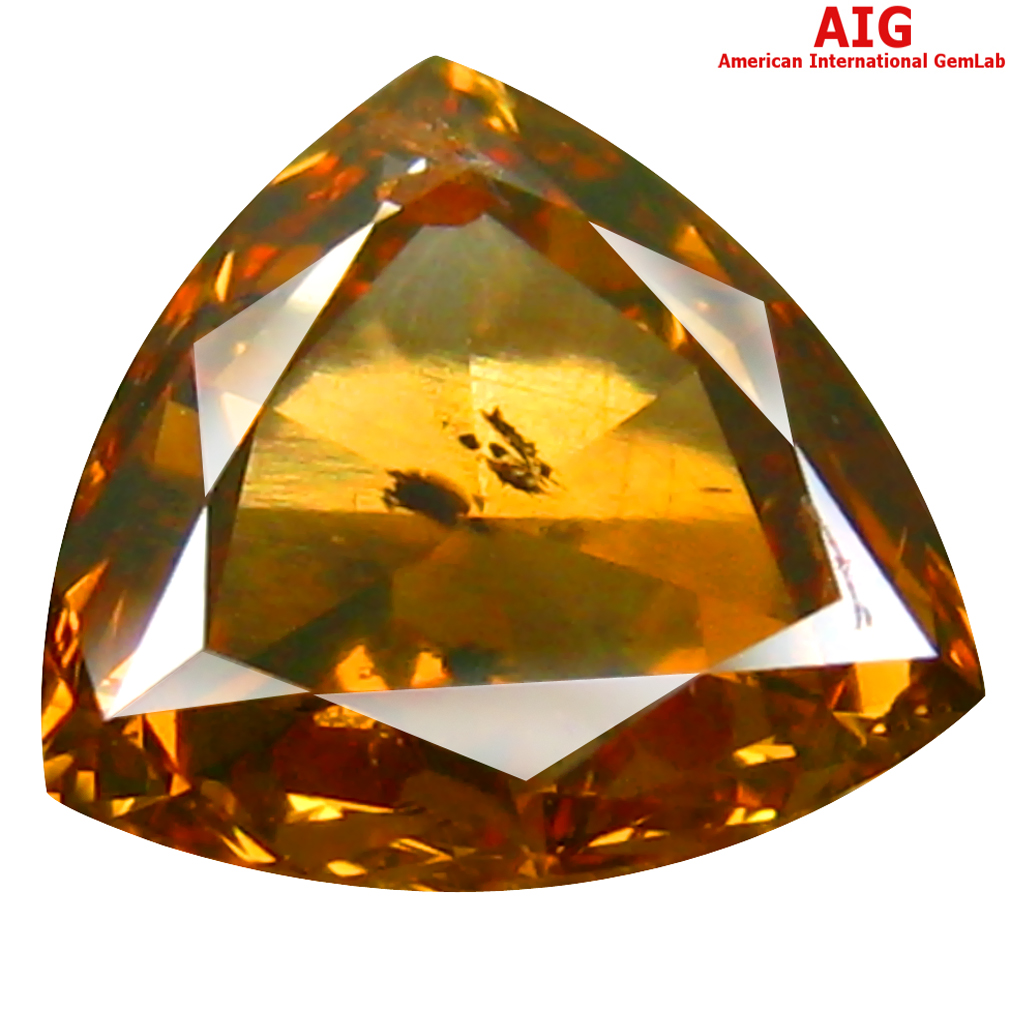 1.03 ct AIG CERTIFIED AWE-INSPIRING TRILLION CUT (7 X 7 MM) UNHEATED / UNTREATED ORANGE YELLOW DIAMOND LOOSE STONE