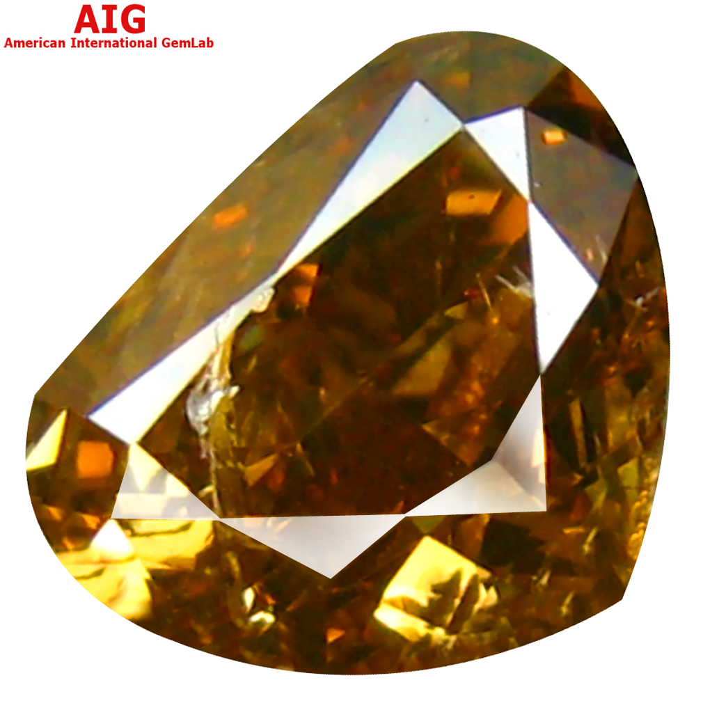 1.00 ct AIG CERTIFIED MARVELOUS PEAR CUT (6 X 5 MM) UNHEATED / UNTREATED FANCY BROWNISH ORANGE DIAMOND LOOSE STONE