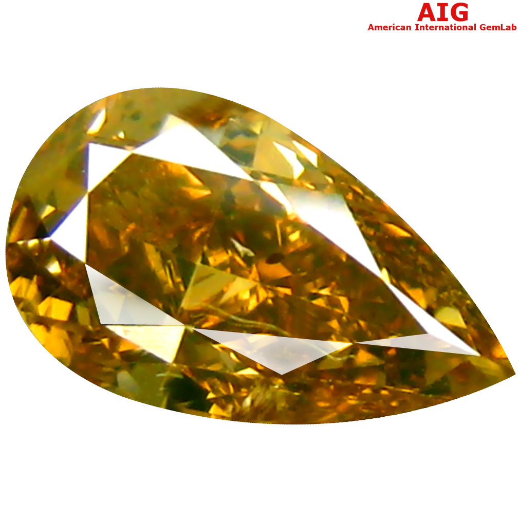 1.02 ct AIG CERTIFIED MARVELOUS PEAR CUT (8 X 5 MM) UNHEATED / UNTREATED FANCY ORANGE YELLOW DIAMOND LOOSE STONE
