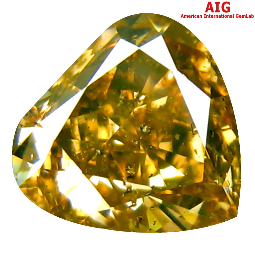 1.23 ct AIG CERTIFIED FIVE-STAR PEAR CUT (7 X 7 MM) UNHEATED / UNTREATED FANCY ORANGE YELLOW DIAMOND LOOSE STONE
