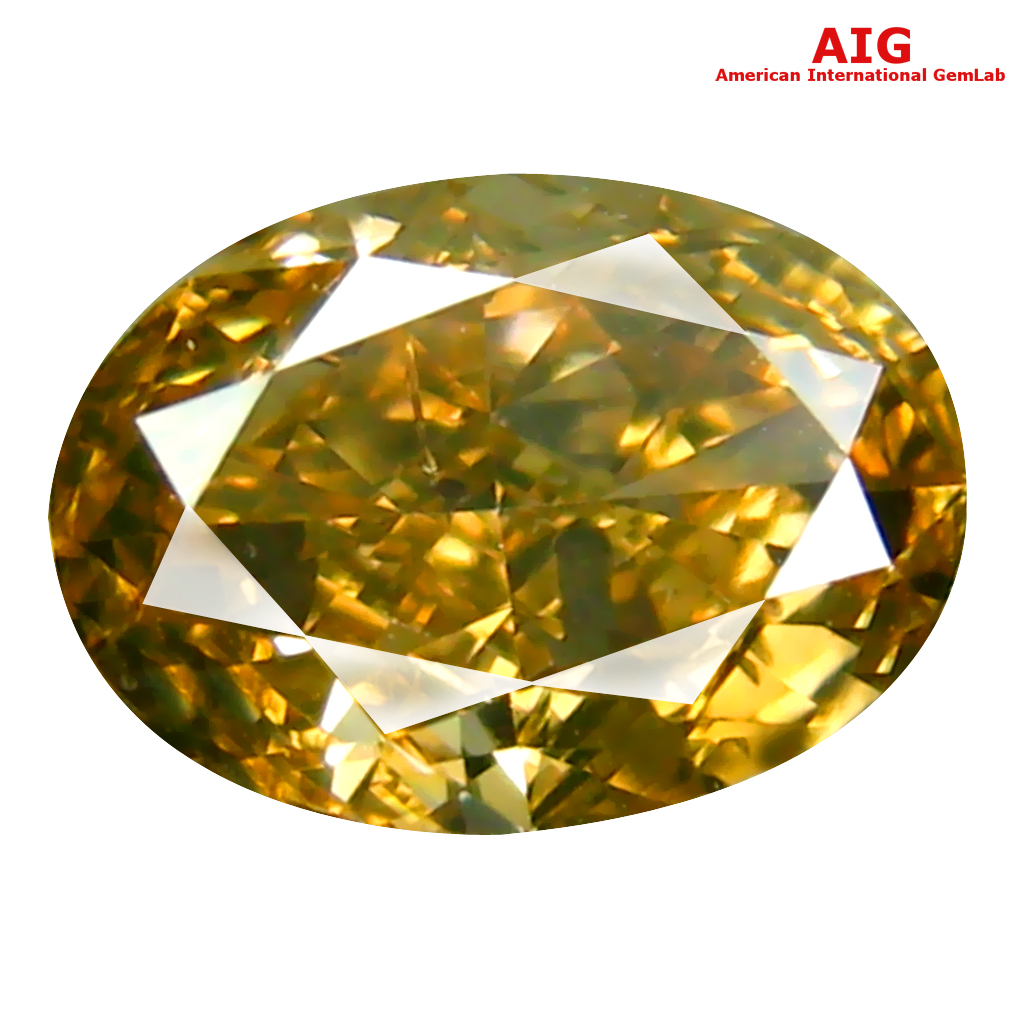 1.05 ct AIG CERTIFIED TREMENDOUS OVAL CUT (7 X 5 MM) UNHEATED / UNTREATED FANCY ORANGE YELLOW DIAMOND LOOSE STONE