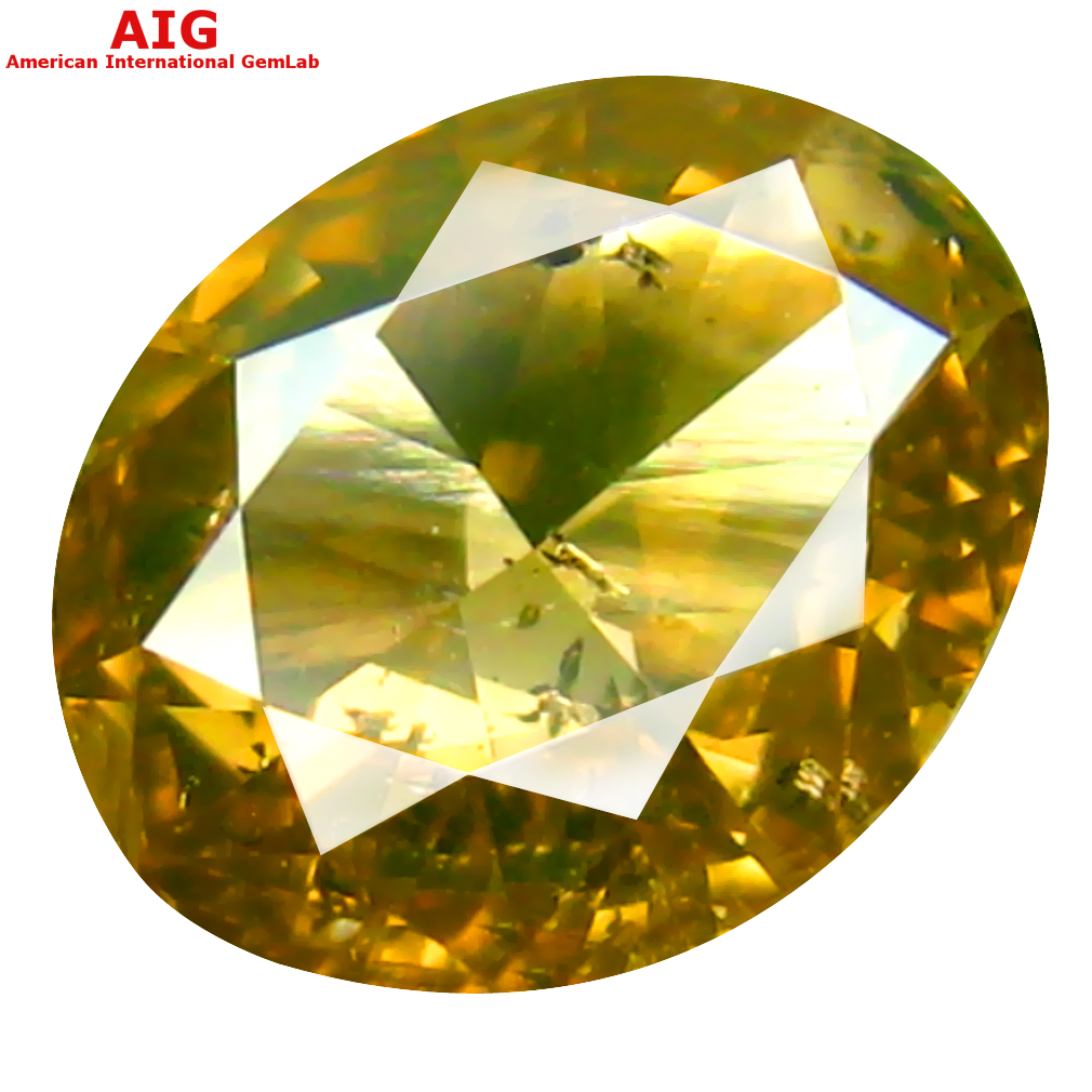 1.00 ct AIG CERTIFIED VALUABLE OVAL CUT (7 X 5 MM) UNHEATED / UNTREATED FANCY ORANGE YELLOW DIAMOND LOOSE STONE