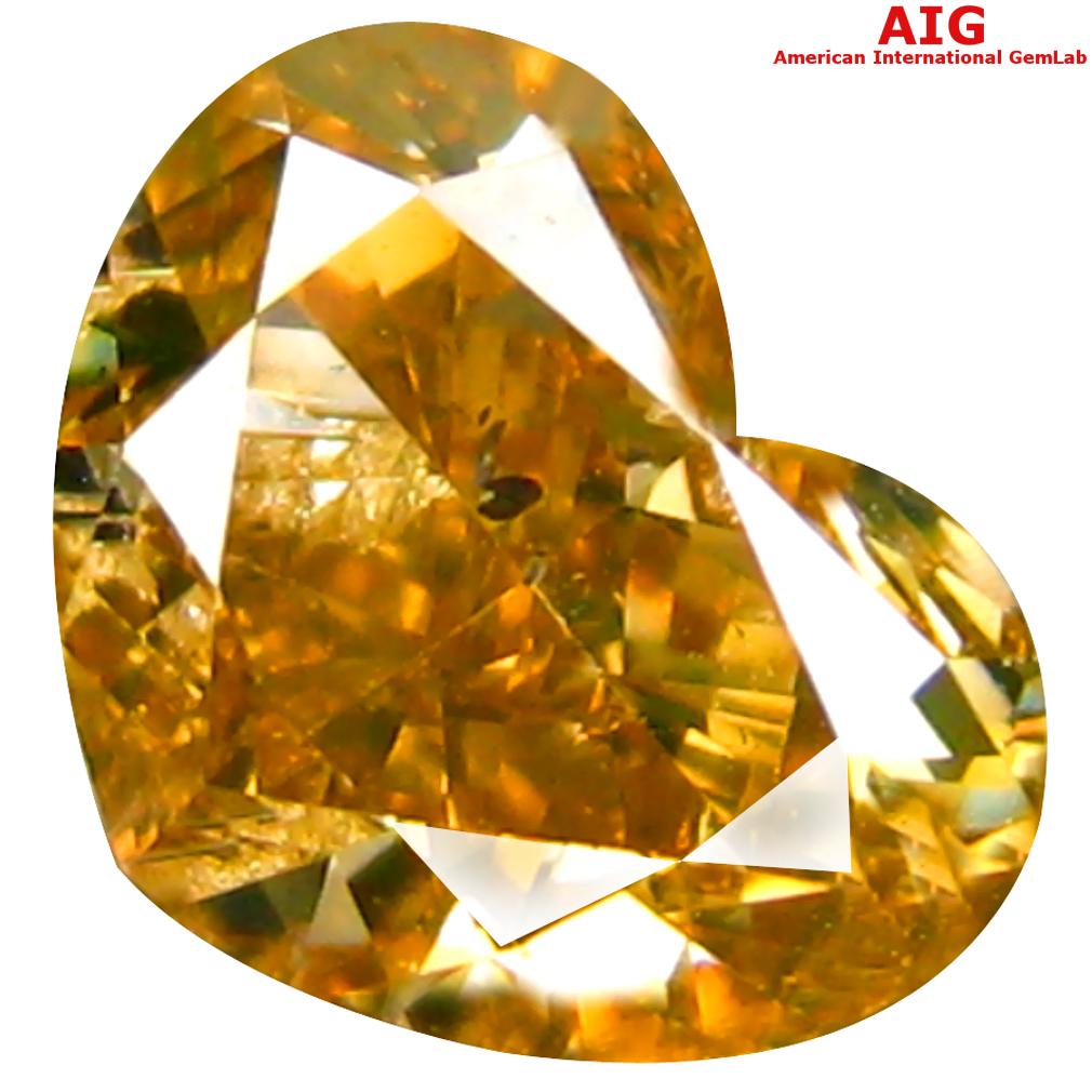 1.00 ct AIG CERTIFIED TERRIFIC HEART CUT (7 X 5 MM) UNHEATED / UNTREATED FANCY ORANGE YELLOW DIAMOND LOOSE STONE