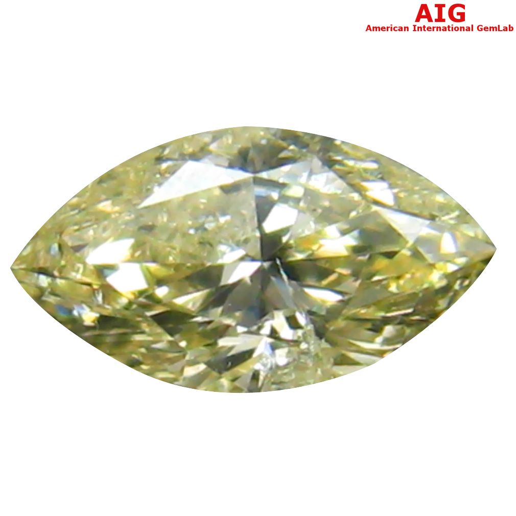 0.30 ct AIG CERTIFIED INCREDIBLE SI2 CLARITY MARQUISE CUT (6 X 3 MM) FANCY LIGHT YELLOW DIAMOND STONE