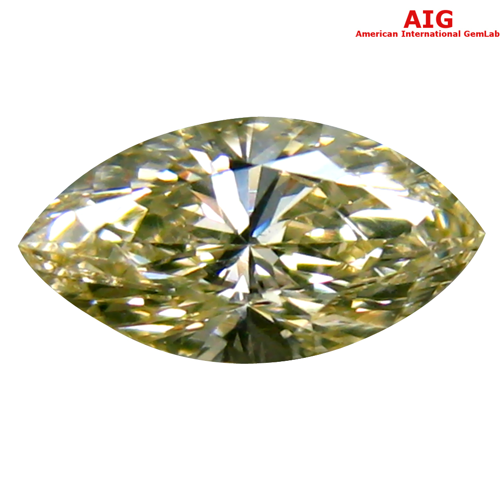 0.34 ct AIG CERTIFIED SPLENDID VS2 CLARITY MARQUISE CUT (7 X 4 MM) FANCY LIGHT YELLOW DIAMOND STONE