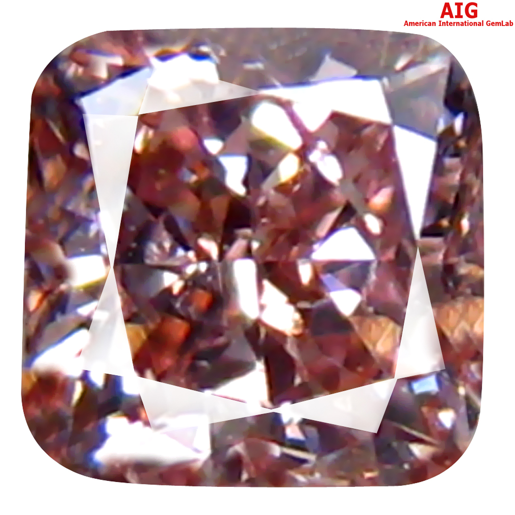 0.32 ct AIG CERTIFIED PHENOMENAL I1 CLARITY CUSHION CUT (3 X 3 MM) FANCY PINK DIAMOND STONE