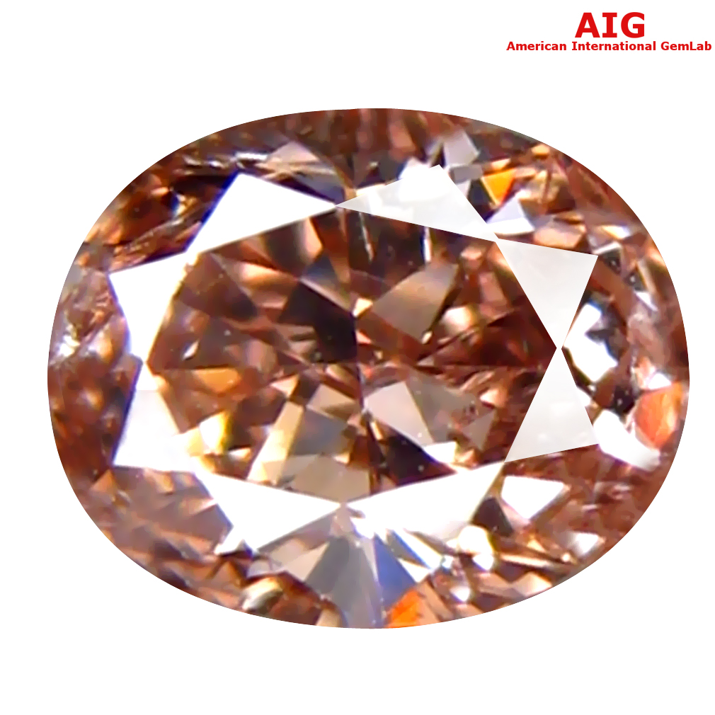 0.32 ct AIG CERTIFIED SUPERIOR SI2 CLARITY OVAL CUT (5 X 4 MM) FANCY BROWNISH PINK DIAMOND STONE