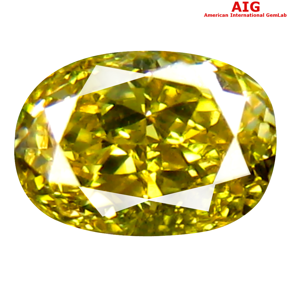 0.38 ct AIG CERTIFIED SPARKLING SI1 CLARITY OVAL CUT (5 X 4 MM) FANCY INTENSE YELLOW DIAMOND STONE