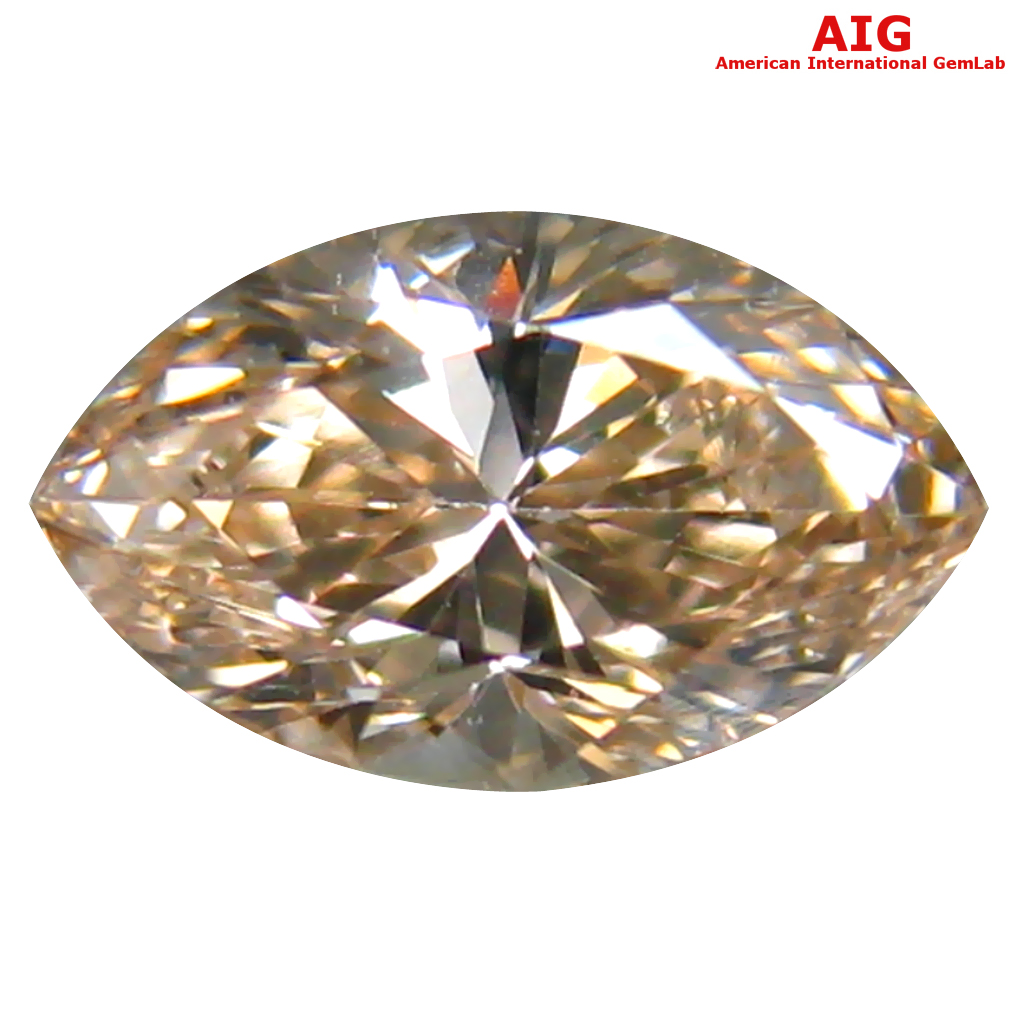 0.46 ct AIG CERTIFIED GORGEOUS VS2 CLARITY MARQUISE CUT (7 X 4 MM) FANCY BROWNISH YELLOW DIAMOND STONE