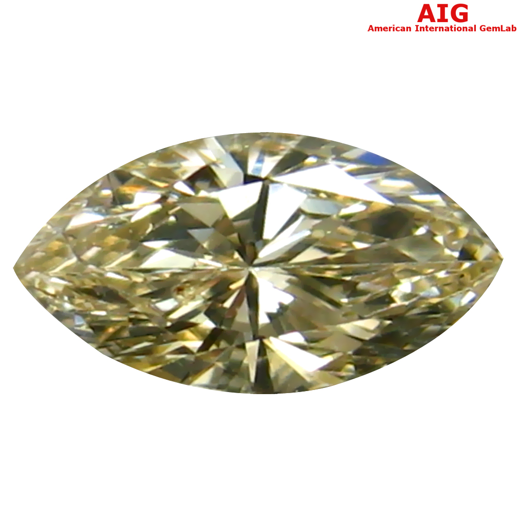 0.29 ct AIG CERTIFIED FIVE-STAR VS1 CLARITY MARQUISE CUT (7 X 3 MM) FANCY GREENISH YELLOW DIAMOND STONE