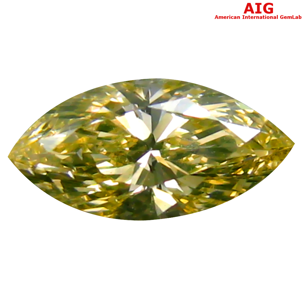 0.41 ct AIG CERTIFIED RESPLENDENT VS1 CLARITY MARQUISE CUT (8 X 4 MM) FANCY GREENISH YELLOW DIAMOND STONE