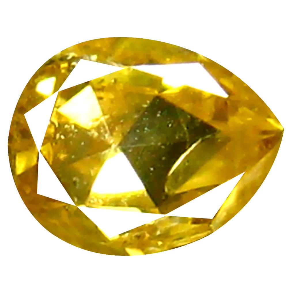 0.12 ct Flashing Pear Cut (3 x 3 mm) 100% Natural (Un-Heated) Fancy Yellow Diamond Natural Gemstone