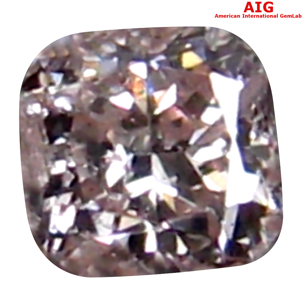 0.09 ct AIG CERTIFIED VERY GOOD CUSHION CUT (2 X 2 MM) UNHEATED / UNTREATED FANCY PINK DIAMOND LOOSE STONE