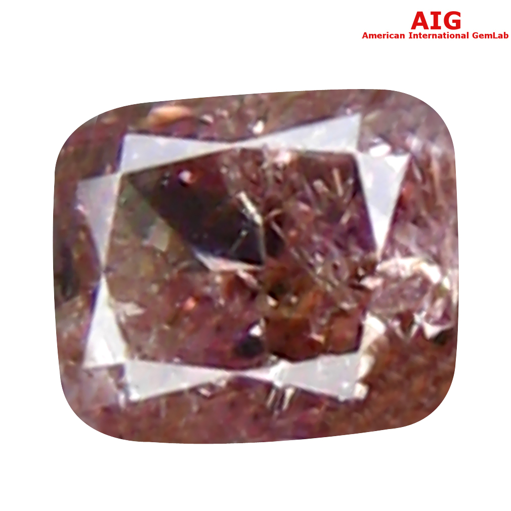 0.10 ct AIG CERTIFIED SUPERB CUSHION CUT (3 X 2 MM) UNHEATED / UNTREATED FANCY PINK DIAMOND LOOSE STONE