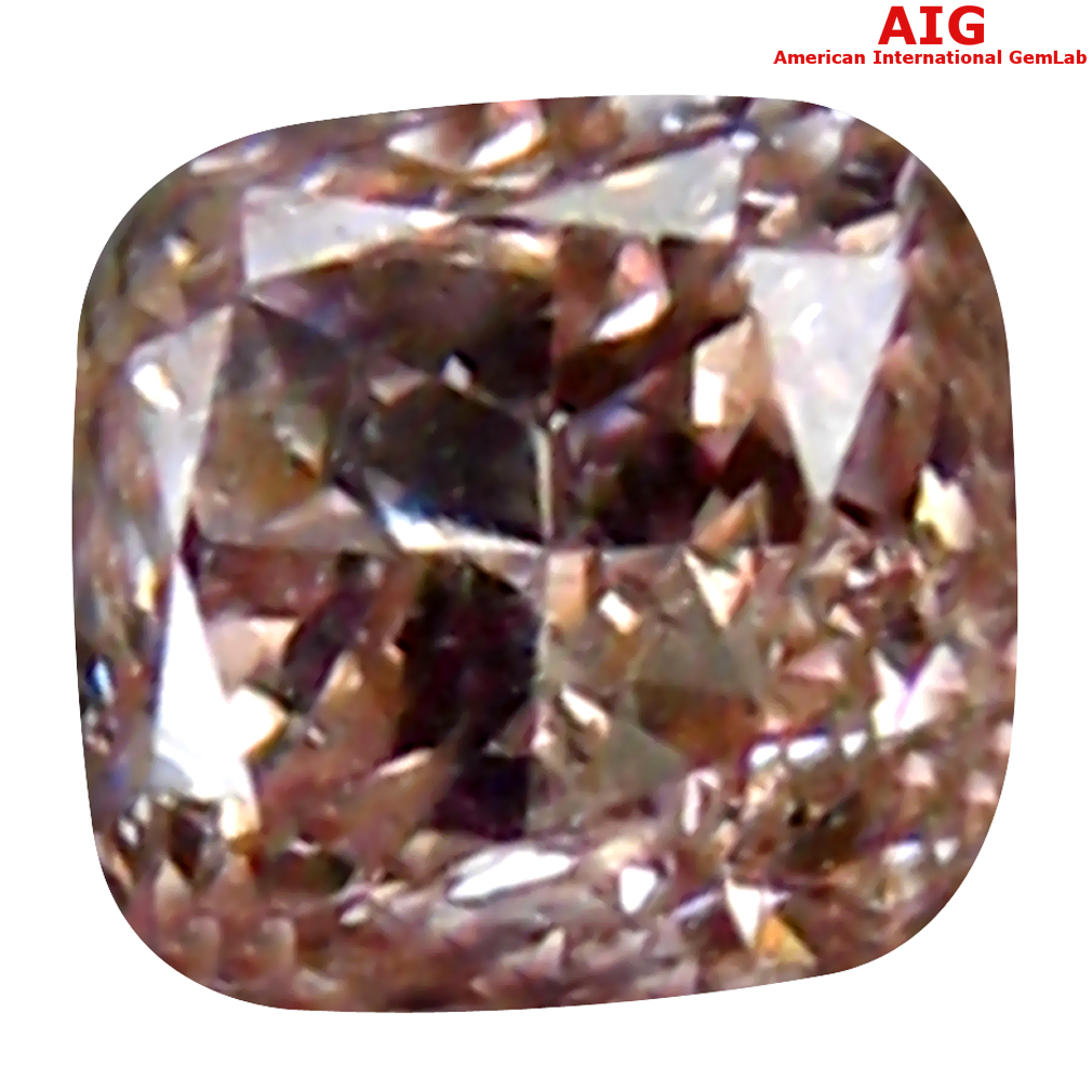 0.14 ct AIG CERTIFIED SUPER-EXCELLENT CUSHION CUT (3 X 3 MM) UNHEATED / UNTREATED FANCY PINK DIAMOND LOOSE STONE
