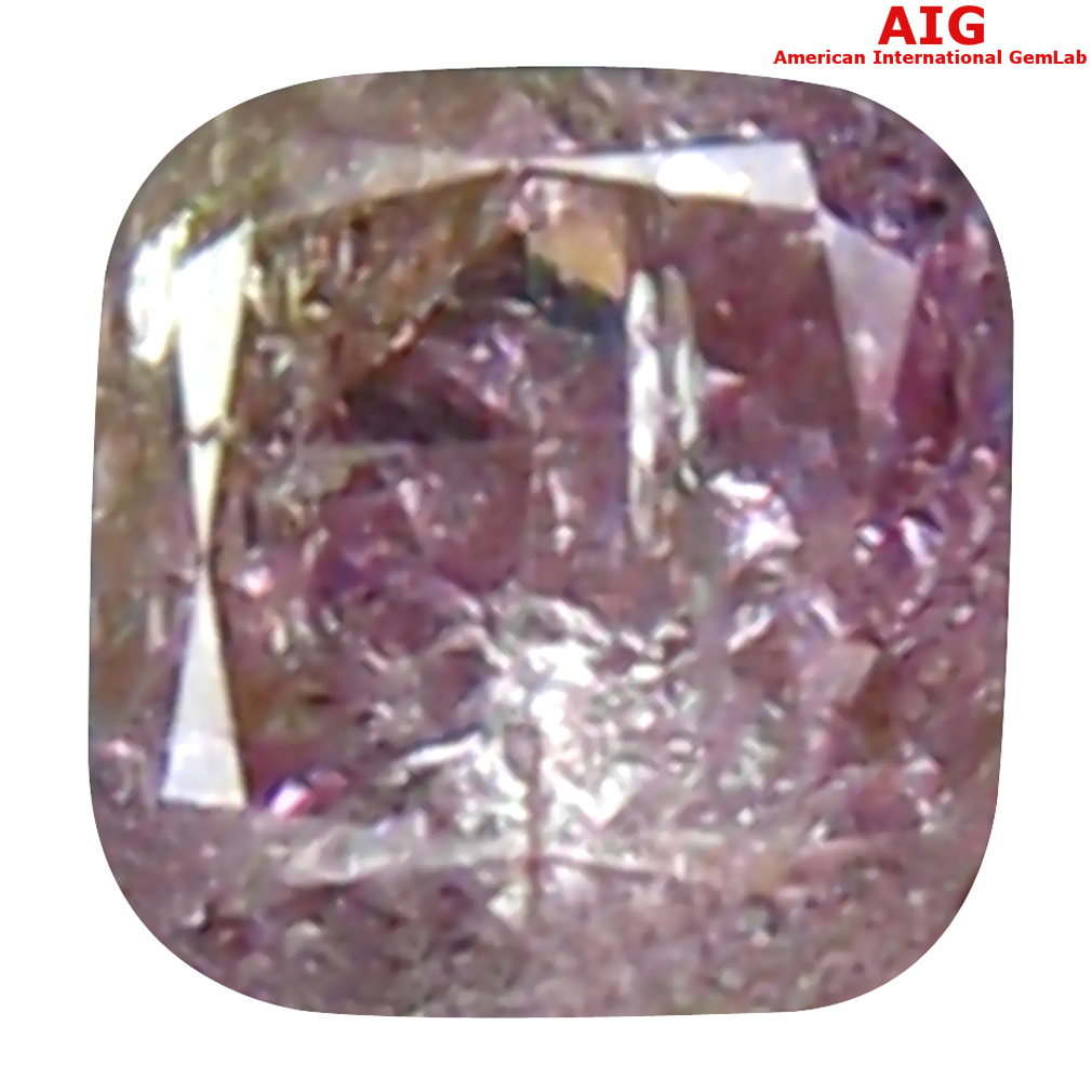 0.10 ct AIG CERTIFIED FANTASTIC CUSHION CUT (3 X 3 MM) UNHEATED / UNTREATED FANCY PINK DIAMOND LOOSE STONE