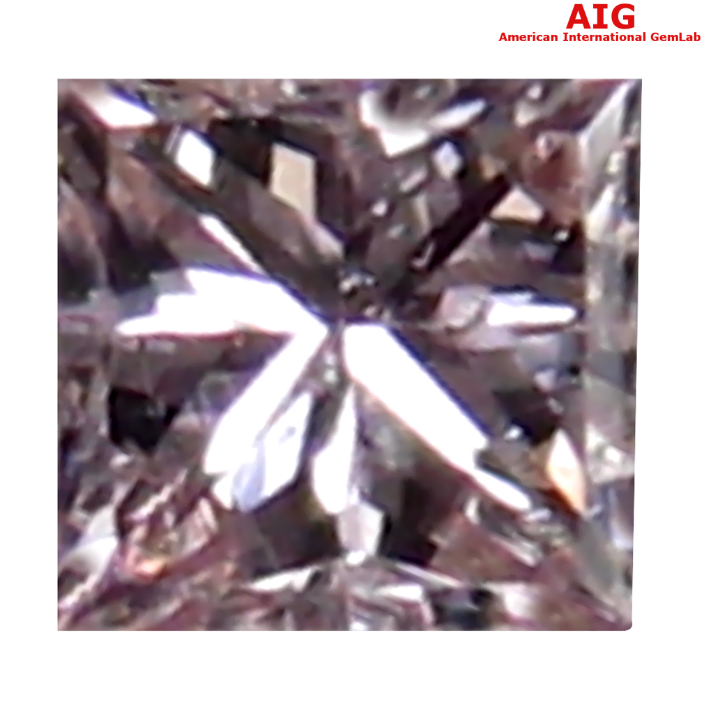 0.07 ct AIG CERTIFIED UNBELIEVABLE PRINCESS CUT (2 X 2 MM) UNHEATED / UNTREATED FANCY PINK DIAMOND LOOSE STONE