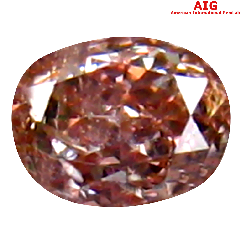 0.11 ct AIG CERTIFIED DAZZLING OVAL CUT (3 X 2 MM) UNHEATED / UNTREATED FANCY PURPLISH PINK DIAMOND LOOSE STONE