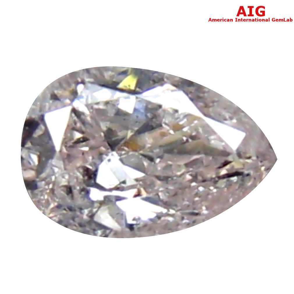 0.11 ct AIG CERTIFIED FABULOUS PEAR CUT (4 X 3 MM) UNHEATED / UNTREATED FANCY LIGHT PINK DIAMOND LOOSE STONE
