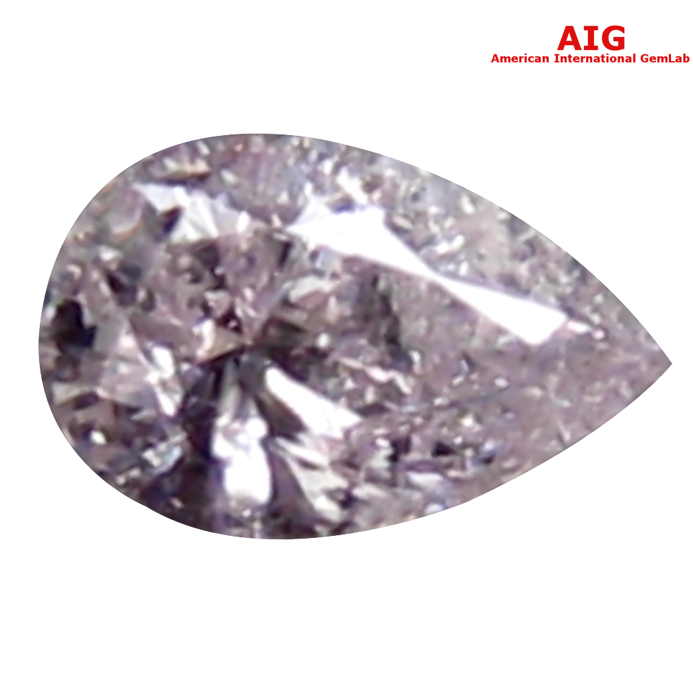 0.07 ct AIG CERTIFIED PREMIUM PEAR CUT (3 X 2 MM) UNHEATED / UNTREATED FANCY LIGHT PINK DIAMOND LOOSE STONE