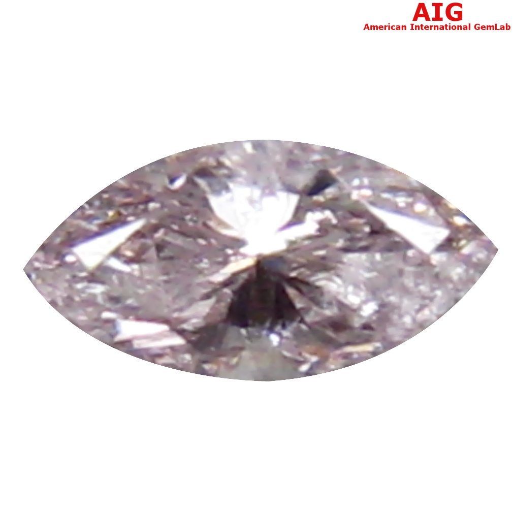 0.11 ct AIG CERTIFIED FLASHING MARQUISE CUT (4 X 2 MM) UNHEATED / UNTREATED FANCY LIGHT PINK DIAMOND LOOSE STONE