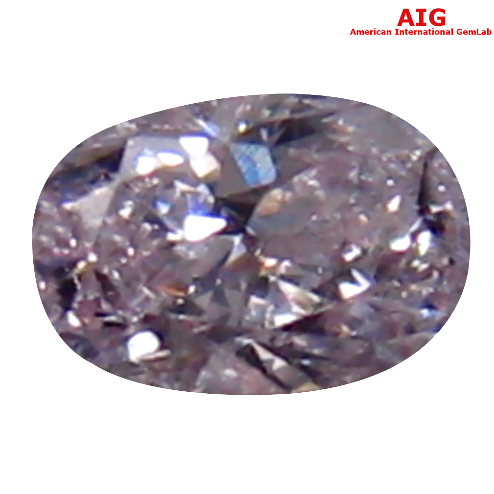 0.13 ct AIG CERTIFIED FANTASTIC OVAL CUT (4 X 3 MM) UNHEATED / UNTREATED FANCY LIGHT PINK DIAMOND LOOSE STONE