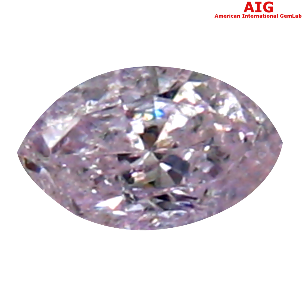 0.12 ct AIG CERTIFIED FIVE-STAR MARQUISE CUT (4 X 3 MM) UNHEATED / UNTREATED FANCY PINK DIAMOND LOOSE STONE